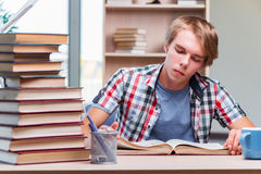 The young man student preparing for college exams Stock Image