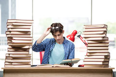 The young man student preparing for college exams Stock Photo