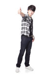 Young man student show thumb up Stock Photo