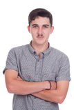 Young man in studio. Young caucasian man or teenager in studio Royalty Free Stock Photography