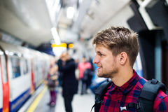 Young man in subway Royalty Free Stock Photography