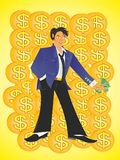 A young man successful in business royalty free illustration
