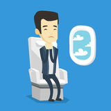 Young man suffering from fear of flying. Young asian man shocked by plane flight in a turbulent area. Airplane passenger frightened by flight. Terrified stock illustration