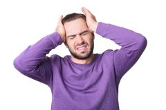 Young man suffering from headache. On white background Royalty Free Stock Photography