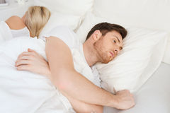 Young man suffering from insomnia Royalty Free Stock Images