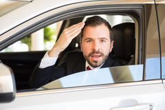 Young man suffering from road rage Royalty Free Stock Photos