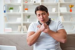 The young man suffering from sore throat. Young man suffering from sore throat Stock Images