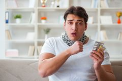 The young man suffering from sore throat. Young man suffering from sore throat Royalty Free Stock Image
