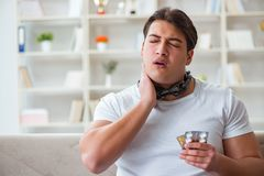 The young man suffering from sore throat Royalty Free Stock Photos
