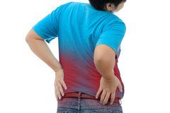 Young man suffering from strong backache Stock Photos