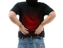 Young man suffering from strong backache Royalty Free Stock Photos