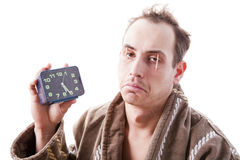 Young man suffers from insomnia. Royalty Free Stock Photo