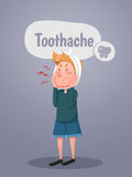 Young man suffers from tooth ache. Vector Illustration Royalty Free Stock Images