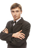 Young man in suit and bow tie Stock Images
