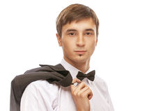 Young man in suit and bow tie Royalty Free Stock Image