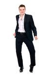 Young man in suit dancing Royalty Free Stock Photography