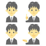 Young man in suit, expressions Stock Image