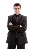 Young man in a suit and glasses. Young man in a suit and glasses, isolated on a white background Stock Images