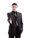 A young man in a suit, hello. Stock Images
