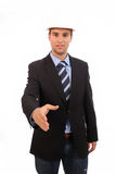 Young man in suit offering to shake the hand Royalty Free Stock Photo