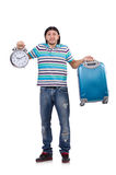 Young man with suitcase isolated on white Stock Photos