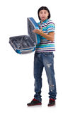 Young man with suitcase isolated on white Stock Photography