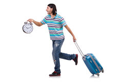 Young man with suitcase isolated on white Royalty Free Stock Images