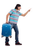 Young man with suitcase isolated on white Royalty Free Stock Image