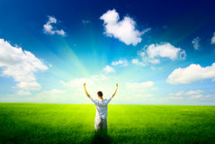 Young man and sun royalty free stock photography