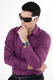 Young man with sunglasses. And watch Stock Photography