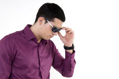Young man with sunglasses. And watch Royalty Free Stock Photos