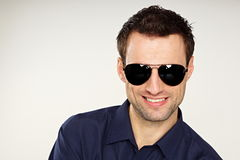 Young man with sunglasses royalty free stock photos