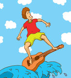 Young man surfing on a guitar Royalty Free Stock Photography