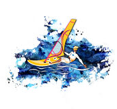 Summer water beach sports, activities. Board with a sail, wetsuit. Man standing on the board with sail and learning to windsurf. Young man surfing. watercolor Vector Illustration