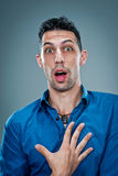 Young Man with Surprise Expression Stock Images