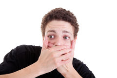 Young man surprised royalty free stock images