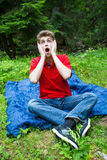 Young man with surprised face Royalty Free Stock Photos
