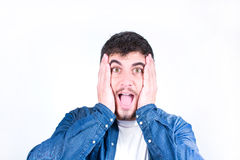 Young man Surprised Royalty Free Stock Photos