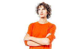 Young man suspicious looking up portrait Stock Photography