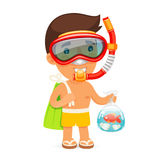 Young Man in Swim Mask Keeps Bag with Fish. Isolated on white background. Clipping paths included in JPG file Stock Image