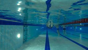 Young man swimming on the back with sport equipment between the legs in the pool stock video footage