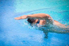 Young man swimming the front crawl/freestyle Royalty Free Stock Images
