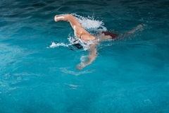 Young man swimming the front crawl in a pool. Swimmer breathing performing the crawl stroke Royalty Free Stock Photo