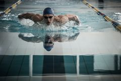 Young man in swimming pool. Young man in swimming cap and goggles swim using breaststroke technique Stock Images