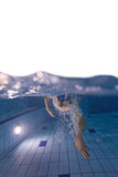 Young man swimming in pool, free space for text. Young man swimming in pool with free space for text royalty free stock images