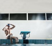Young man in swimming pool Royalty Free Stock Photos
