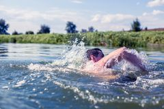 The young man swimming in the river royalty free stock image