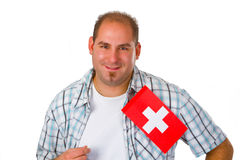 Young man with swiss flag Stock Photos