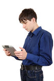 Young Man with Tablet Computer royalty free stock image