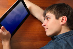 Young Man with Tablet Computer Stock Photos